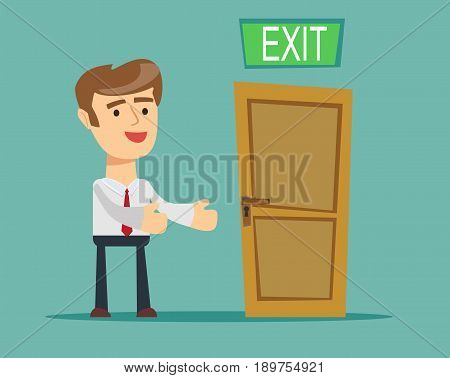 Businessman has found exit, concept. Stock vector illustration for poster, greeting card, website, ad, business presentation, advertisement design