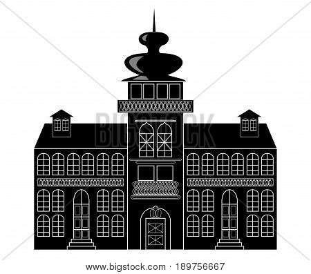 Silhouette of a castle in baroque or renaissance style in white and black design