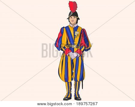 Vector.  Swiss guardsman in a ceremonial multicolored uniform guarding the Vatican.