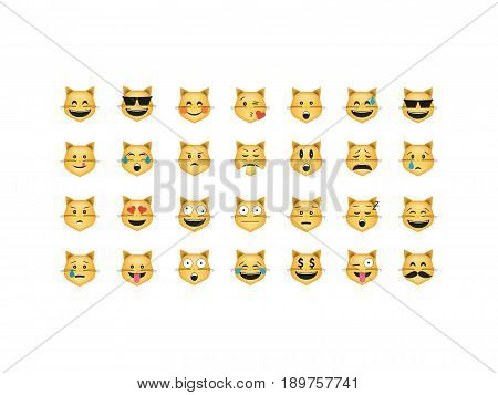 Set of cat emoticon vector isolated on white background. Emoji vector. Smile icon set. Emoticon icon web.