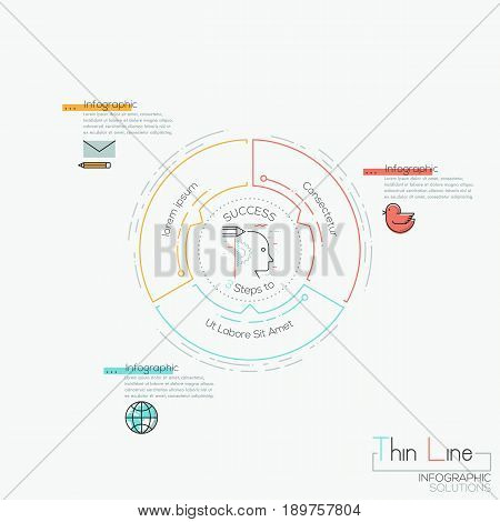 Round chart with 3 multicolored elements with arrows pointing at center and text boxes. Features of project management concept. Infographic design layout. Vector illustration in thin line style.