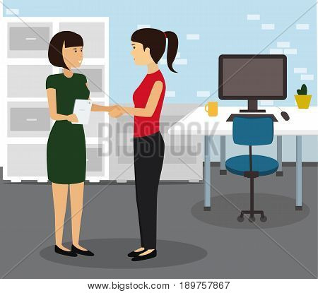 Two Businesswomen Shaking Hands In Modern Office. Teamwork and Cooperation Flat Illustration Vector.