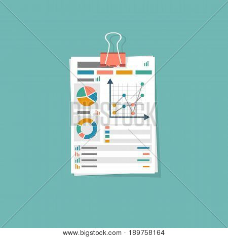Business document icon. Document with charts and graphs business reports. Vector illustration flat design. Isolated on background. Paperwork concept.