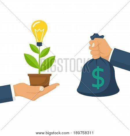 Buy idea. Concept growing idea. Business transaction light bulb and money hold in hand. Crowdfunding, investment. Cost of innovations. Vector illustration flat design. Isolated on white background.