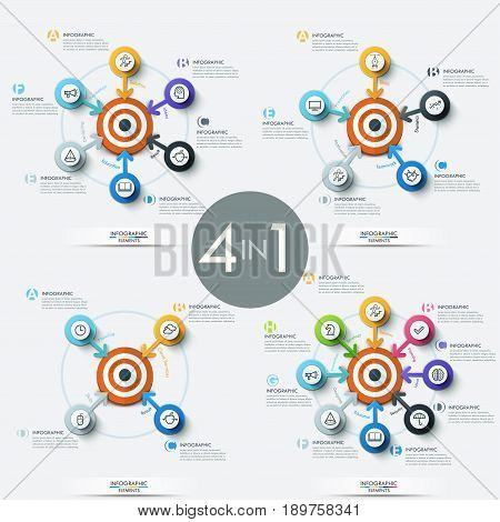 Collection of 4 modern infographic design templates - circular elements with arrows pointing at target in center, pictograms and text boxes. Vector illustration for brochure, presentation, website.
