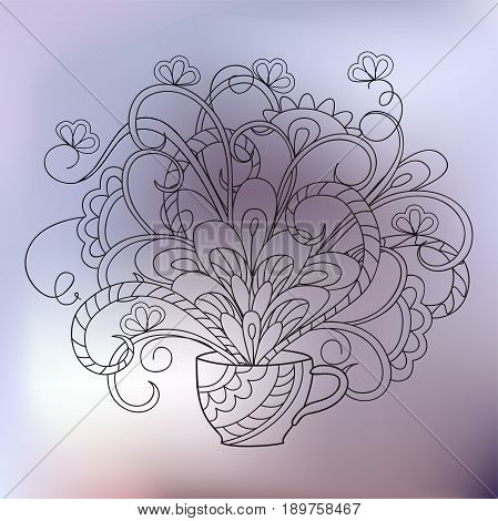 Hand drawn transparent doodle zen-tangled bouquet in the cup for fabric print wall art and decoration. eps 10.
