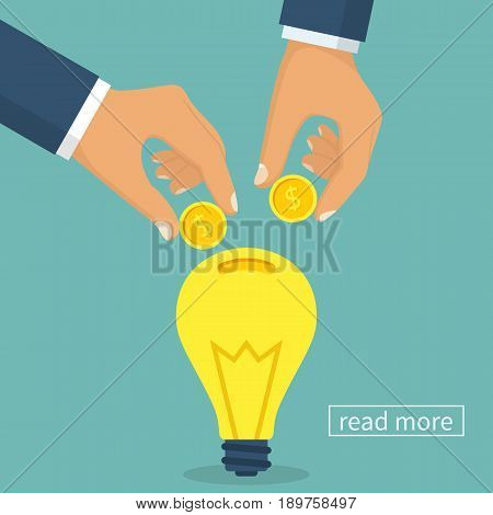 Crowdfunding concept. Business model funding project. Crowd funding. Teamwork. Businessmen put money coins common idea. Vector illustration flat design. Isolated on background.
