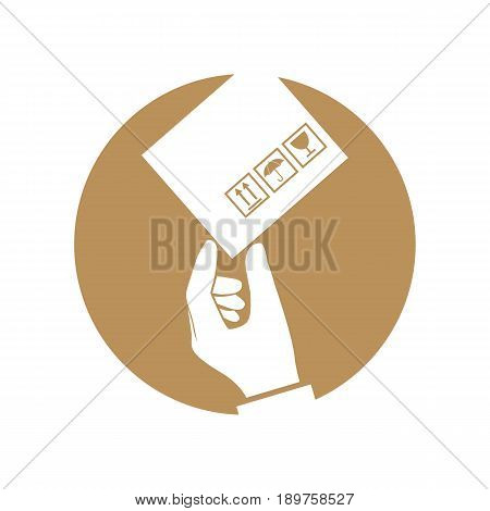 Delivery icon concept. Express cargo delivery silhouette, service. Courier delivered a package, hold in hand pictogram. Vector illustration flat design. Isolated on white background.