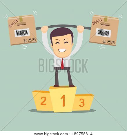 Delivery man. Cartoon character with cartons box stand on a pedestal. Concept for online shop . Vector flat illustration