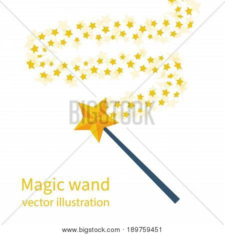 Magic wand with a star. Trace of gold dust. Magic abstract background isolated on white. Miracle and magic. Vector illustration flat design.