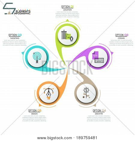 Modern infographic design layout, circular diagram with 5 round elements twisting around center. Five features of software development company. Vector illustration for corporate website, report.