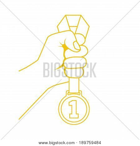 Gold medal with ribbon in hand yellow line silhouette. Sportsman winner is awarded prize for the first place. Vector illustration minimal design style. Pictogram victory isolated on whate background.