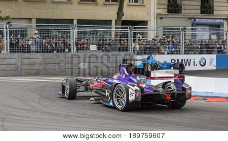 PARIS - 20 May 2017: Race detail with the Formula E cars which ranked the first two places in the Paris ePrix on the Invalides Circuit.These cars are only electric-powered.