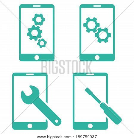Smartphone Setup Tools vector icon collection. Collection style is cyan flat symbols on a white background.