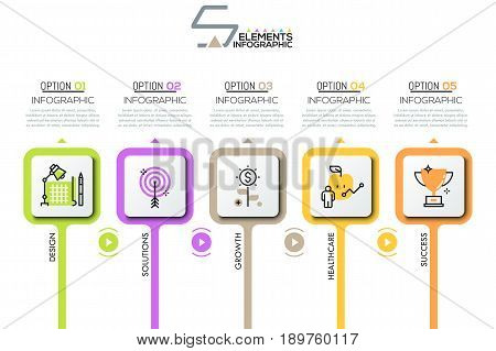 Infographic design layout, 5 rounded squares with pictograms in thin line style, play buttons, arrows and text boxes. Five steps to success concept. Vector illustration for corporate website, banner.
