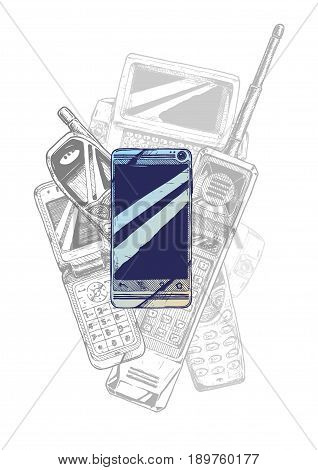 Touchscreen smartphone. Vector hand drawn illustration of mobile phone evolution in vintage engraved style.