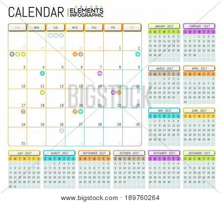 Modern calendar 2017 template design with place for notes. Daily and monthly schedule, task manager and appointments planner. Effective business process organization and planning. Vector illustration.