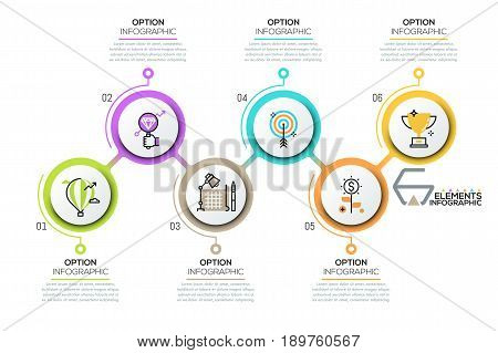 Modern infographic design template, 6 numbered circular elements with pictograms and text boxes placed in zigzag course. Business development steps. Vector illustration for report, corporate website.