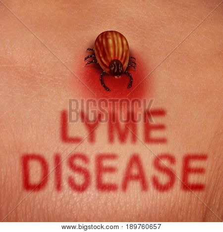 Lyme disease concept as a human tick insect feeding for blood on the skin of a person as a health care issue and bacterial infection medical danger as a rash shaped as text in a 3D illustration style.