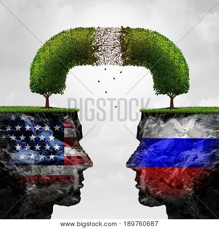 Russia United States relations problem as Russian and American political crisis symbol as a degrading connected tree representing the failing diplomatic and economic relationship between Moscow and Washington with 3D illustration elements