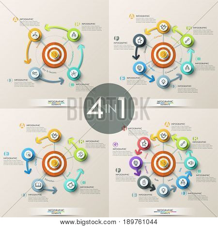 Set of 4 modern infographic design templates - successively connected circular elements placed around central target, pictograms and text boxes. Vector illustration for brochure, report, website.