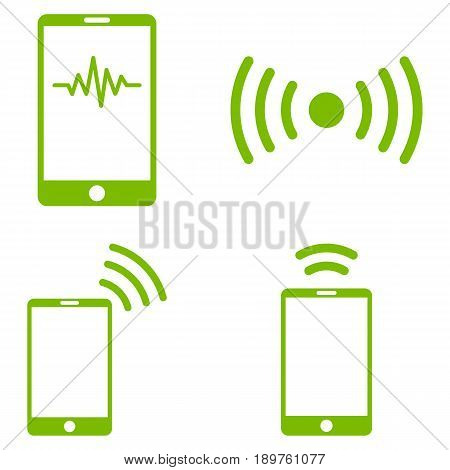 Mobile Signal vector icon collection. Collection style is eco green flat symbols on a white background.