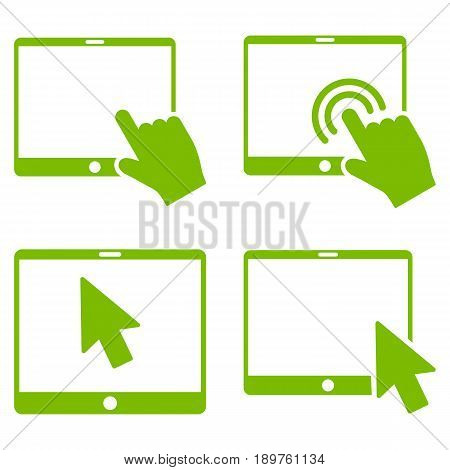 Mobile Tab Pointer vector icon set. Collection style is eco green flat symbols on a white background.
