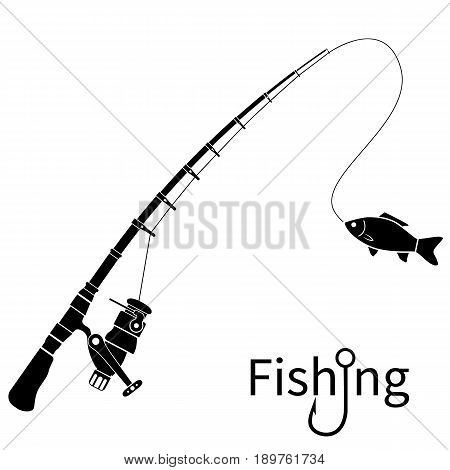 Fishing icon silhouette concept. Rod black pictogram with fish. Template banner for web design and print. Used sticker, emblem, badge. Spinning rods with catch. Vector flat. Isolated white background.