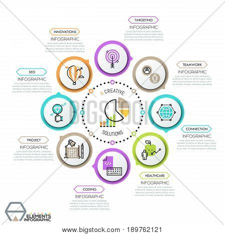 Simple infographic design template. Flower petal diagram, 8 round elements with thin line icons successively connected by circular dotted line. Vector illustration for report, brochure, presentation.