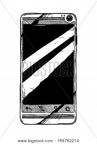 Vector hand drawn illustration of touchscreen smartphone in vintage engraved style. isolated on white background.