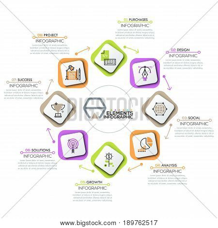 Round diagram, 8 rectangular elements with icons in thin line style successively connected by arrows and arranged in ring. Steps of success concept. Infographic design layout. Vector illustration.