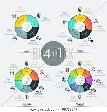 Collection of 4 pie charts with multicolored sectors, pictograms, text boxes and question mark in center. Modern infographic design layout. Problem solving strategies concept. Vector illustration.