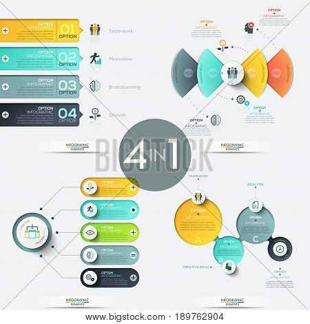 Set of 4 creative infographic design templates with elements of different shapes and colors, text boxes and pictograms. Vector illustration for corporate website, report, presentation, brochure, ad.