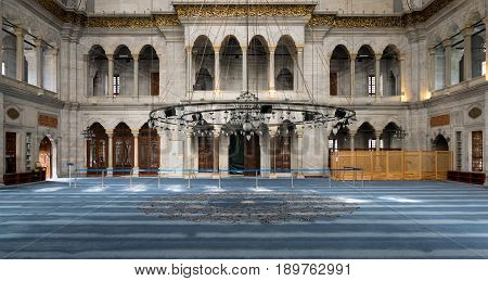 Istanbul, Turkey - April 20, 2017: Interior of Nuruosmaniye Mosque, an Ottoman Baroque style mosque completed in 1755, located in Shemberlitash, Fatih, Istanbul, Turkey