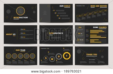 Corporate Presentation Slides Design. Creative Business Proposal Or Annual Report. Full Hd Vector Ke