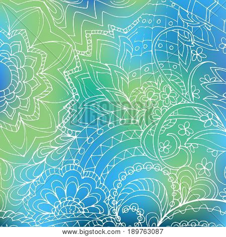 Hand drawn transparent tangled pattern of the flowers on the blue gradient background for fabric print decorate dishes porcelain. eps 10.