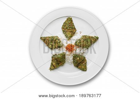 Pilau kyukyu on a white plate isolated on white background isolation