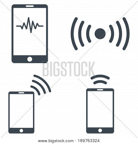 Mobile Signal vector icon collection. Collection style is smooth blue flat symbols on a white background.