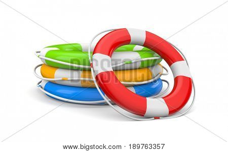 Bunch life buoy. 3d illustration