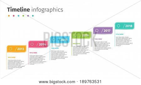 Business Timeline With Step Flags Infographics. Corporate Milestones Graphic Elements. Company Prese