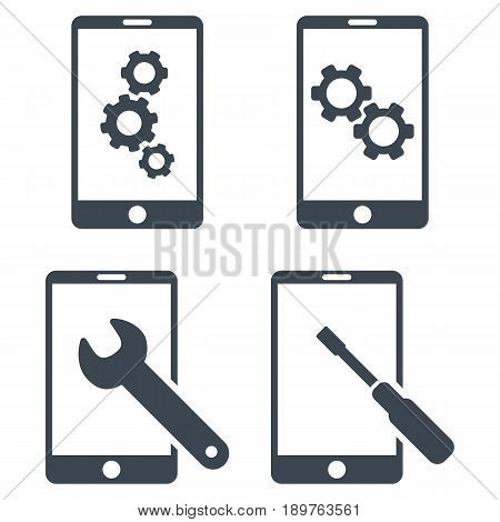 Smartphone Setup Tools vector icon collection. Collection style is smooth blue flat symbols on a white background.
