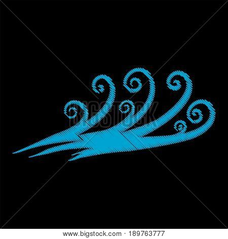 Embroidery sea wave isolated on black background.