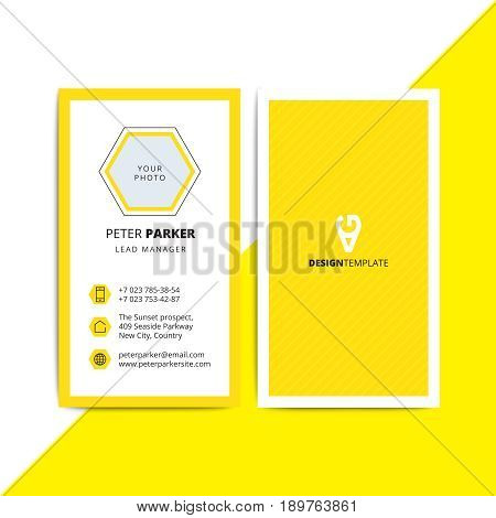 Abstract Multipurpose Corporate Business Card On Bright Yellow L