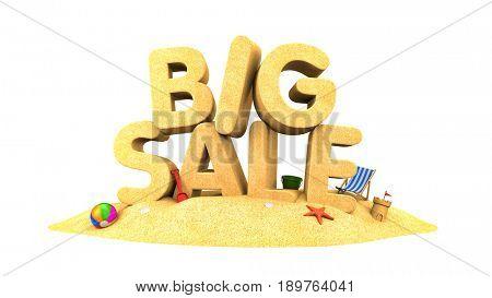 BIG SALE - words of sand. 3d illustration