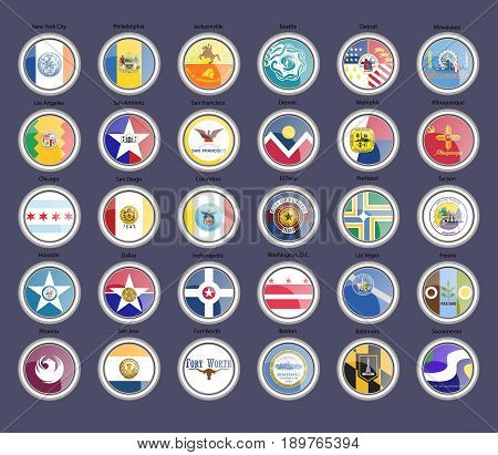 Set Of Icons. Cities Of The Usa Flags.