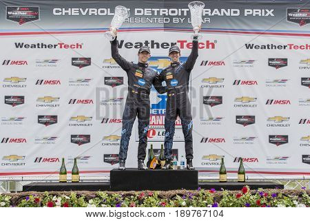 June 03, 2017 - Detroit, Michigan, USA:  Jordan and Ricky Taylor (10) celebrate after winning the Chevrolet Sports Car Classic at Belle Isle Street Course in Detroit, Michigan.