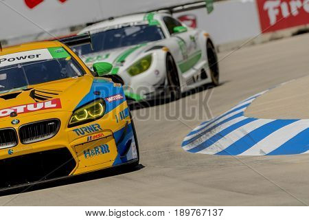 June 02, 2017 - Detroit, Michigan, USA:  The Turner Motorsport BMW M6 GT3 races through the turns at the Chevrolet Sports Car Classic at Belle Isle Street Course in Detroit, Michigan.