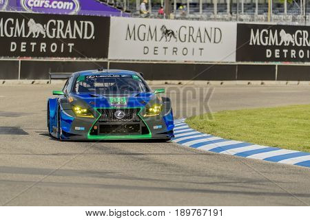June 02, 2017 - Detroit, Michigan, USA:  The 3GT Racing Lexus RCF GT3 races through the turns at the Chevrolet Sports Car Classic at Belle Isle Street Course in Detroit, Michigan.
