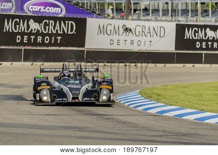 June 02, 2017 - Detroit, Michigan, USA:  The Bar1 Motorsports ORECA FLM09 car races through the turns at the Chevrolet Sports Car Classic at Belle Isle Street Course in Detroit, Michigan.