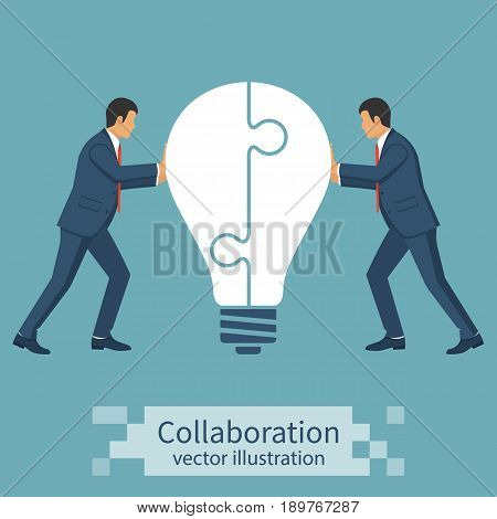 Collaboration concept. Completing business idea. Cooperation, teamwork. Successful solution puzzle. Symbol of partnership. Vector, flat design. Businessmen pushing puzzle connected in lightbulb.